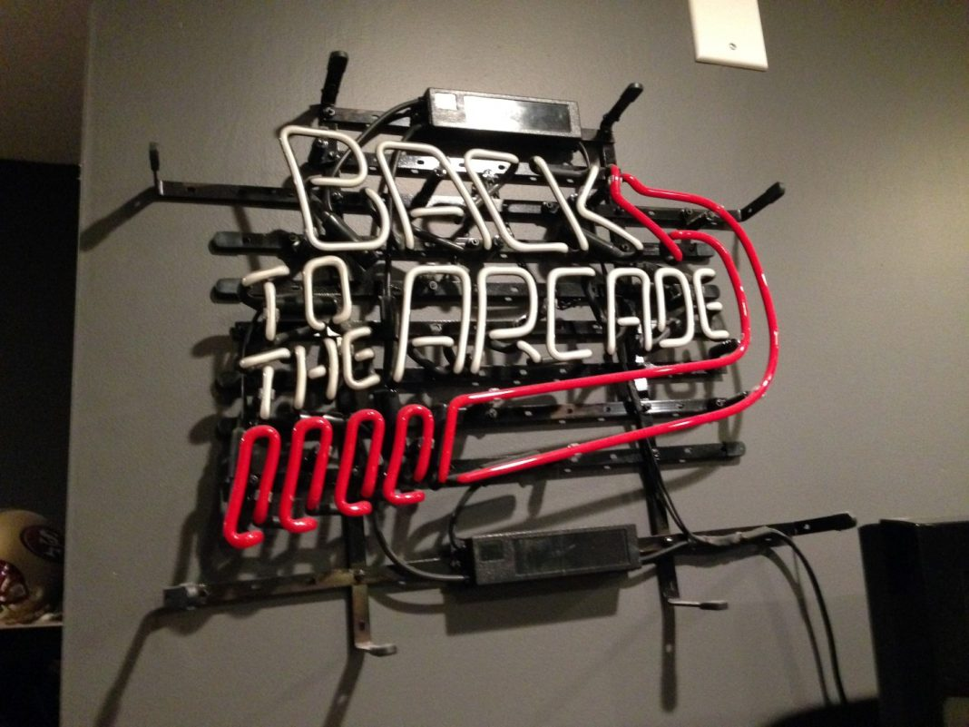 Back to the Arcade neon sign, turned off
