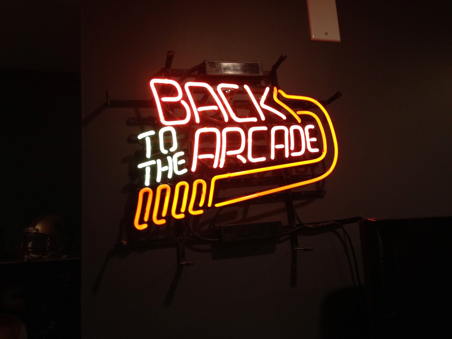 Back to the Arcade neon sign, turned on