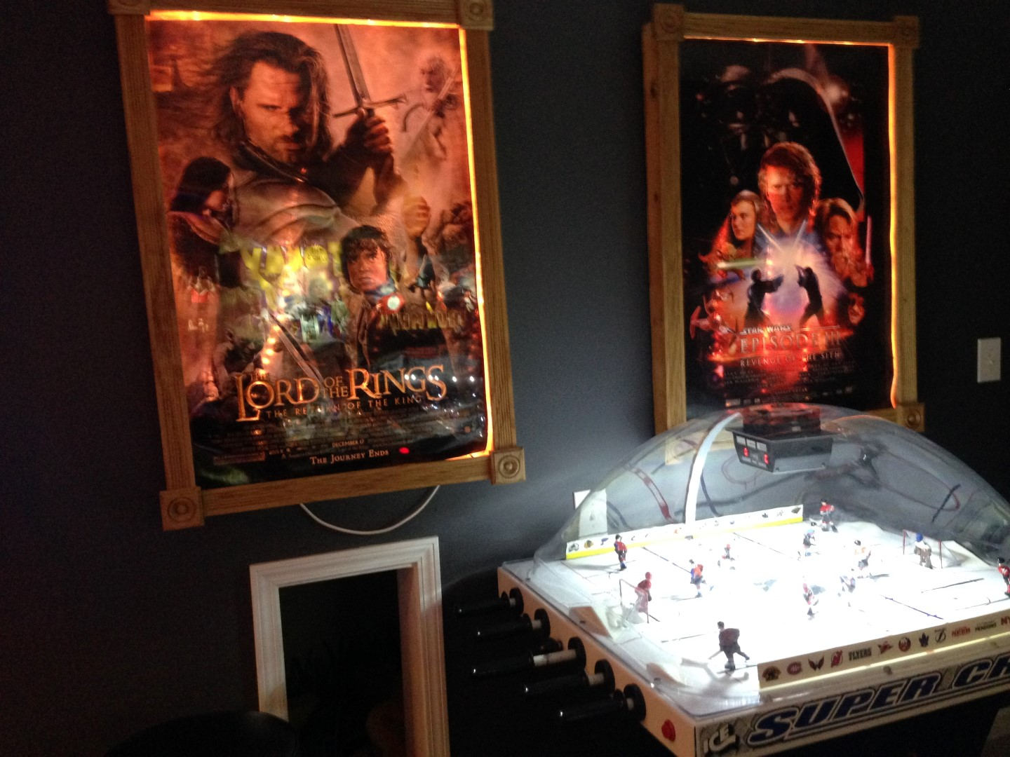 Chexx bubble hockey with lighted movie posters