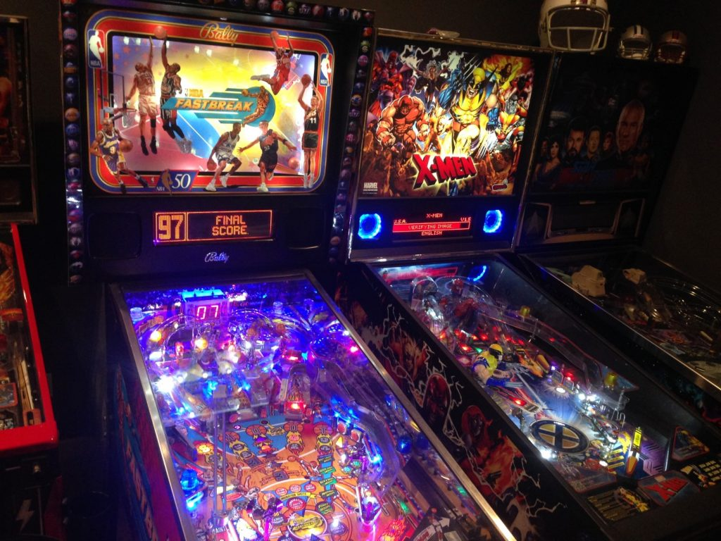 Pinball Machines in Game Room