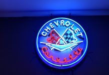 Corvette Neon Sign all lit up picture