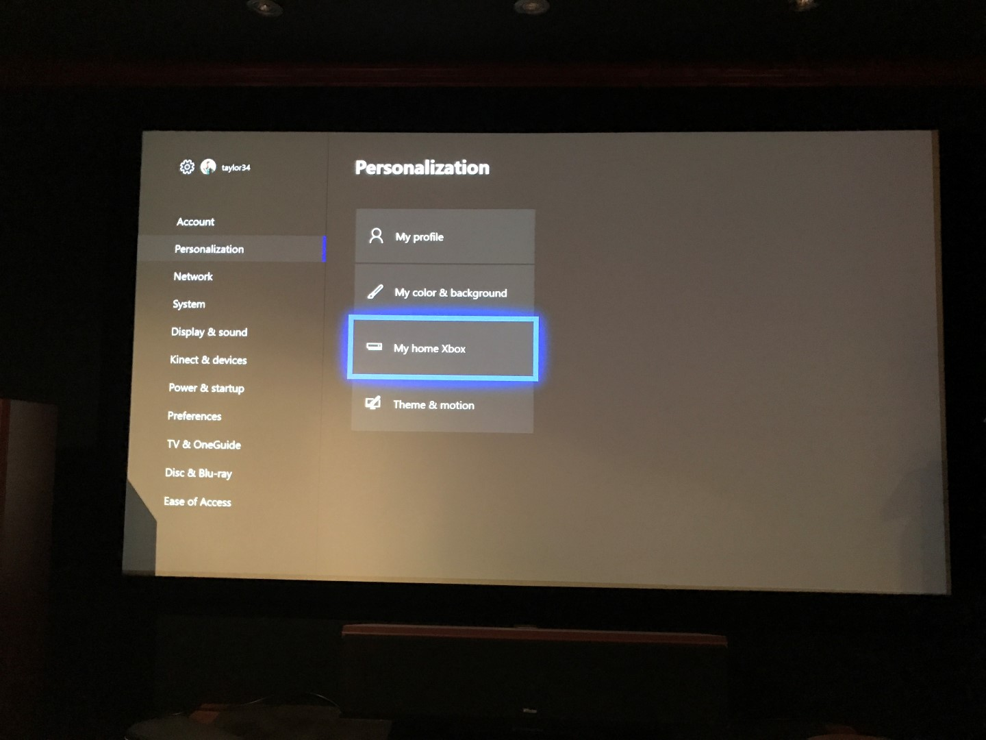 Xbox One Personalization Screen