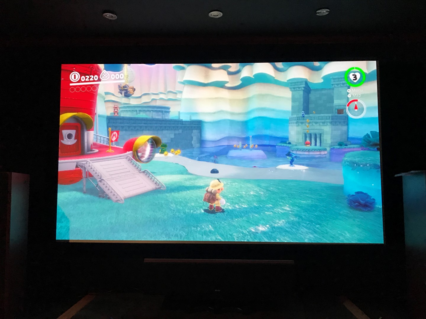 Super Mario Odyssey on projector