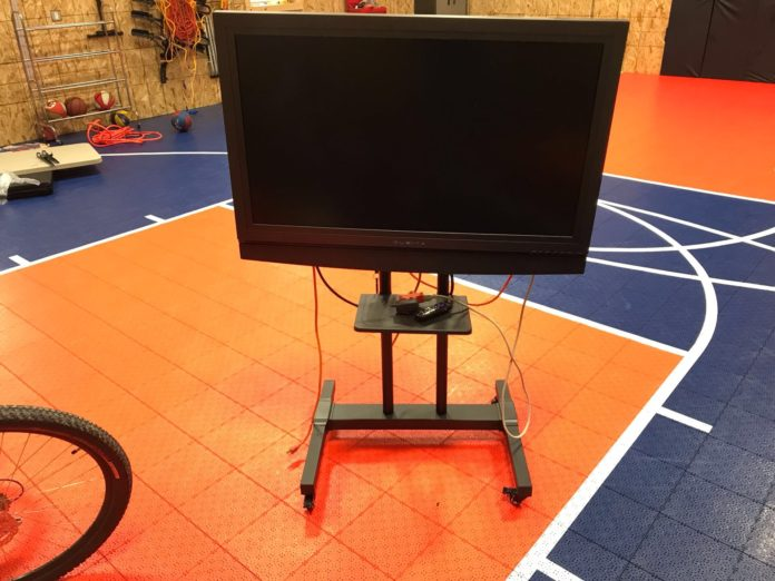 Rolling portable TV stand