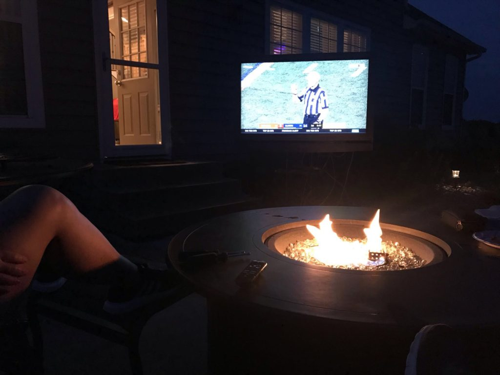 Outdoor Fire Pit with Portable TV